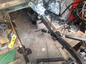 Engine mounts on.  Luckily I can reuse the old gearbox mounts